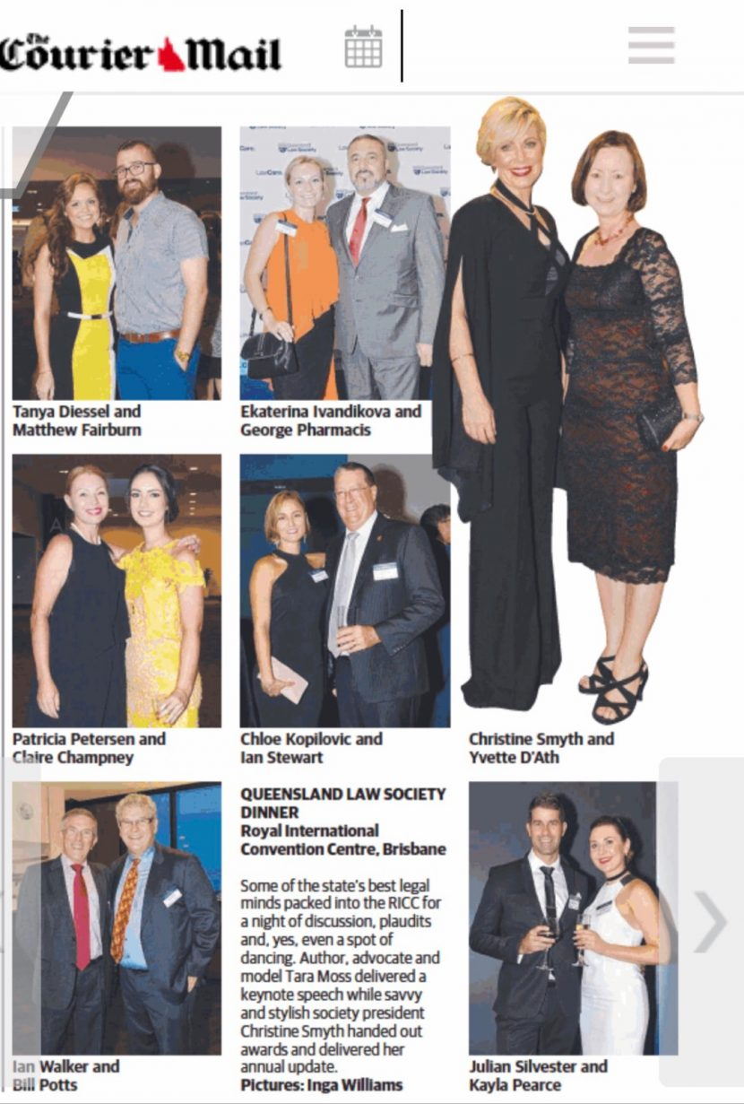 Courier Mail reports on the Queensland Law Society Dinner