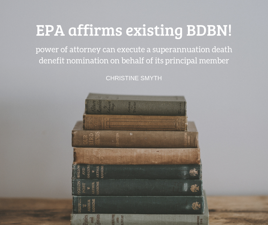 EPA can affirm existing binding death benefit nomination!
