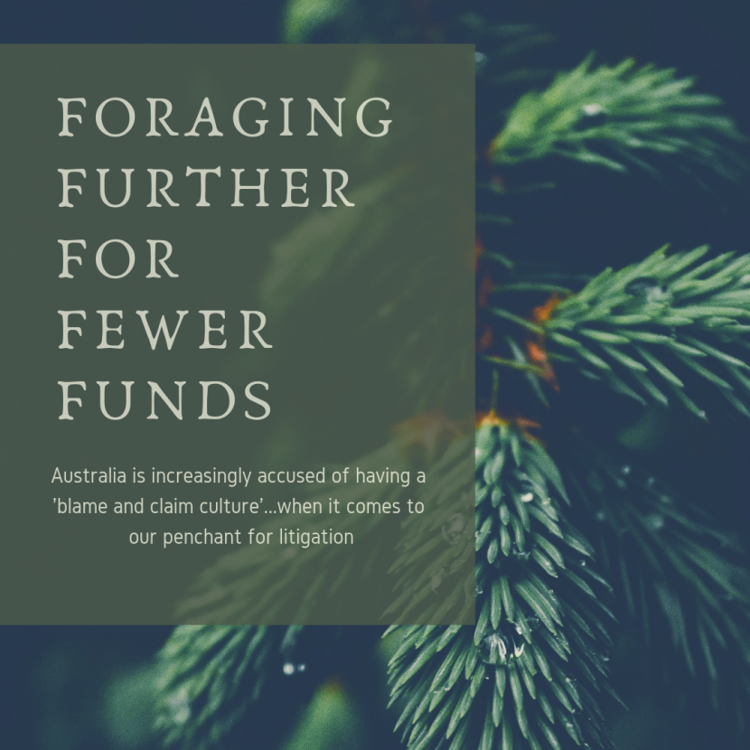 Foraging further for fewer funds